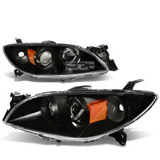 Fit 2004 2009 Mazda 3 Black Housing Amber Side Euro Projector Headlightlamp Set Fits Mazda 3