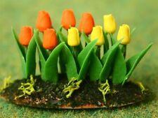 GIALLO / ARANCIO TULIPANI in terra, DOLL HOUSE miniature da esterni giardino fiori