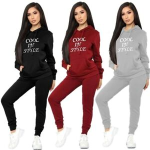 2Pcs Womens Tracksuit Slim Hoodies Casual Tops+Pants Set Lounge Wear Sport Suit