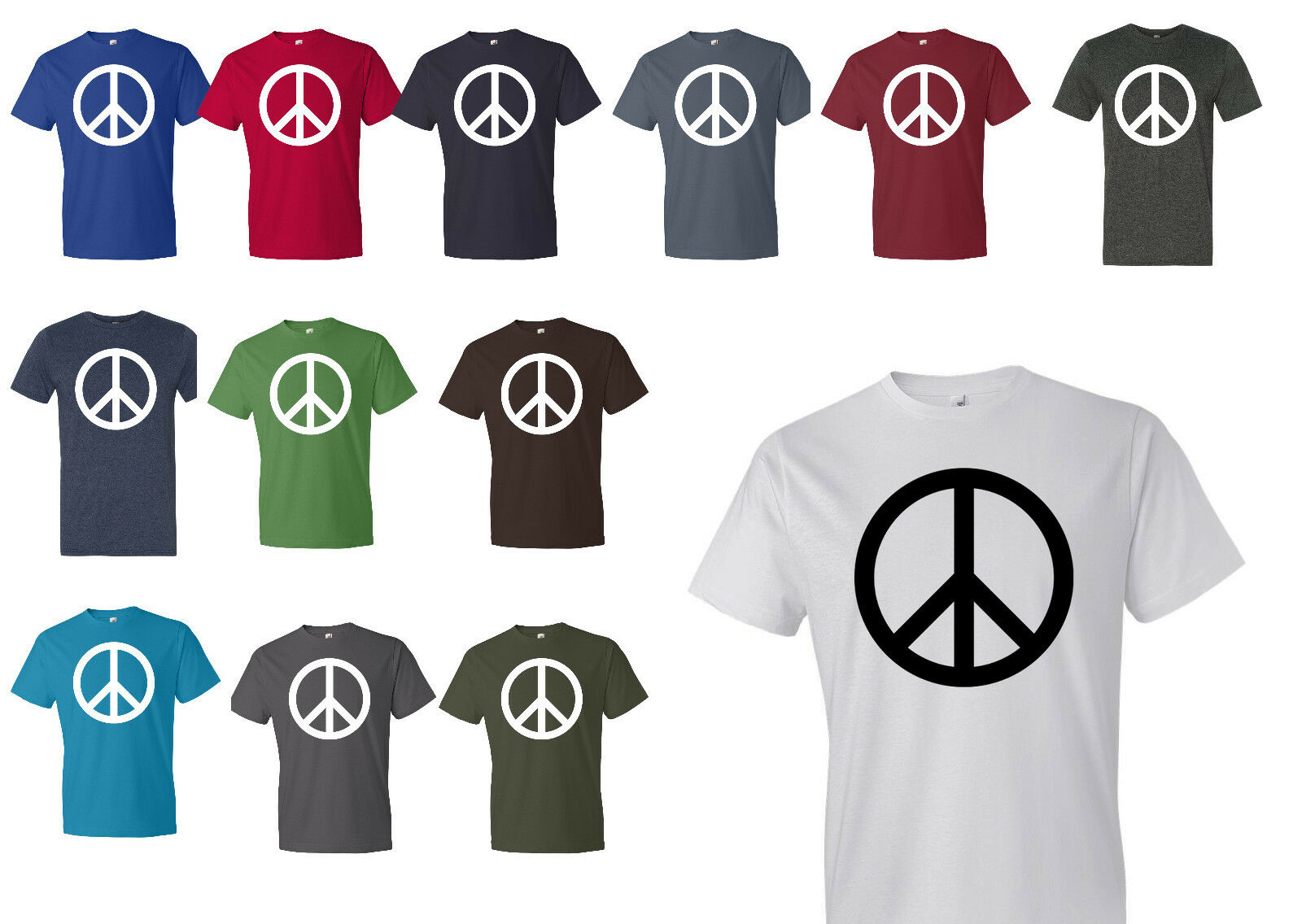 Peace Symbol T Shirt Anvil Mens Tee All Sizes And All Colors High