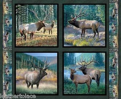 Springs Creative ~ Mountain Sky Elk ~ 4 Elk Pillow Panels 100% Cotton Fabric