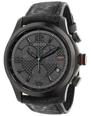 New Gucci G-Timeless Black PVD G-Fabric Strap Men's Watch YA126244