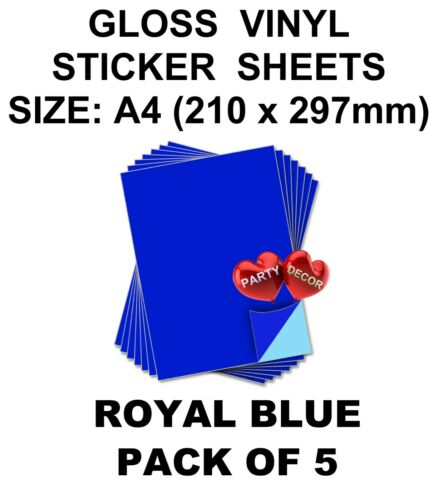 5 x Sheet of A4 Royal Blue self adhesive vinyl for hobby /& craft by Party Decor