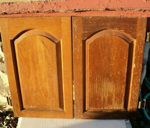 solid oak pair kitchen cabinet doors arched replacement parts 22 1 4 x 13 1 2 ebay. Black Bedroom Furniture Sets. Home Design Ideas