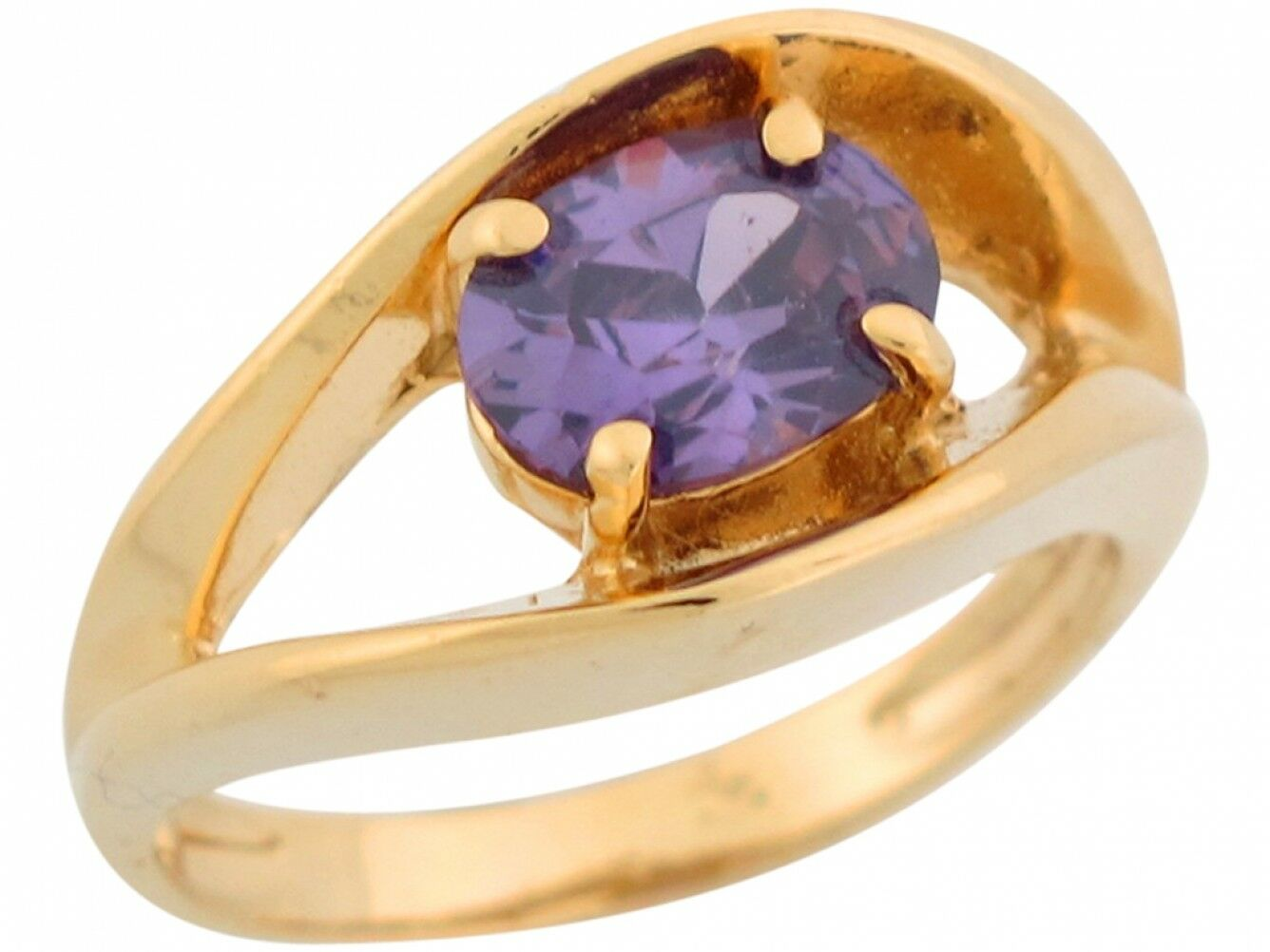 10k or 14k Yellow gold Simulated Amethyst Designer Inspired Unique Ladies Ring