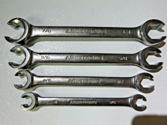 Snap-on Tools USA NEW 4 Piece SAE Double Flare Nut 6 Point Line Wrench Lot Set