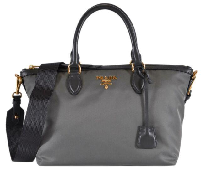 9e669fc71f7 New Prada 1BA104 Borsa A Mano Ardesia Grey Nylon 2-Way Zip Purse Handbag Bag