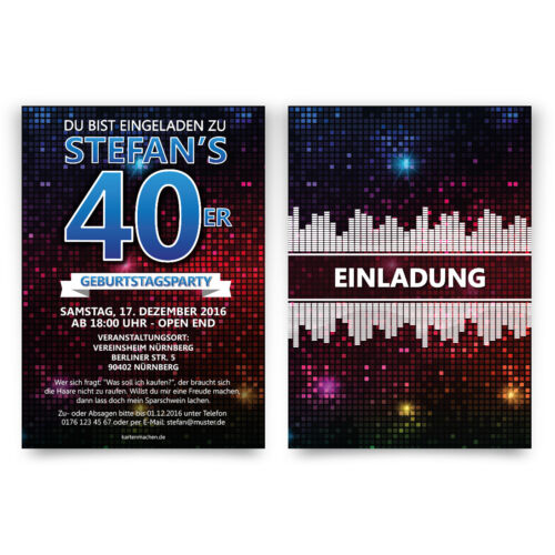Cartes INVITATION ANNIVERSAIRE-Disco-anniversaire invitations