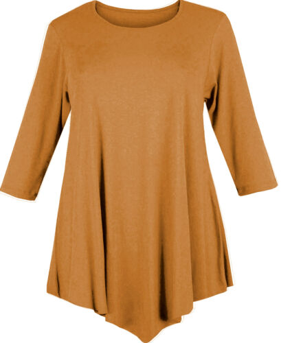 WOMENS LOOSE V-CUT TUNIC DRESS TOP SWING PLUS SIZE 12-26 LADIES BAGGY 3//4 SLEEVE