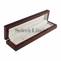 Rosewood Veneer White Leather Jewelry Bracelet Gift Box