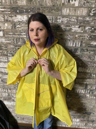 Shiny PVC Vinyl Yellow Rain Poncho / Raincoat Slic