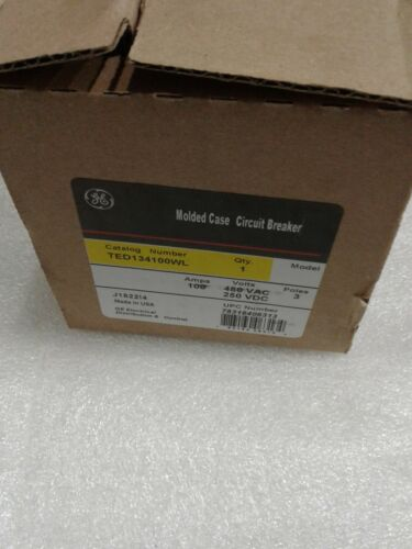 TED134100WL General Electric 3pole 100Amp 480V Circuit Breaker NEW!
