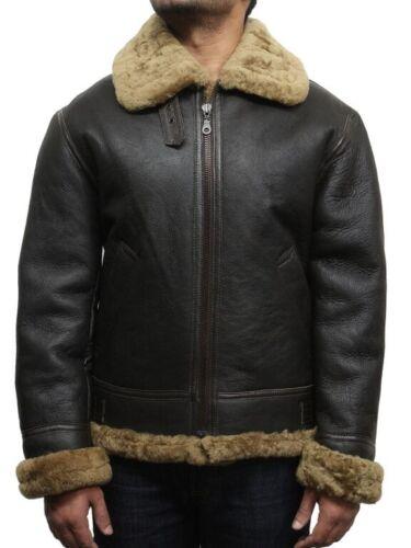 738c1b1141 Brandslock Mens Aviator World War jackets Mens Real Shearling Sheepskin  Leather Jackets
