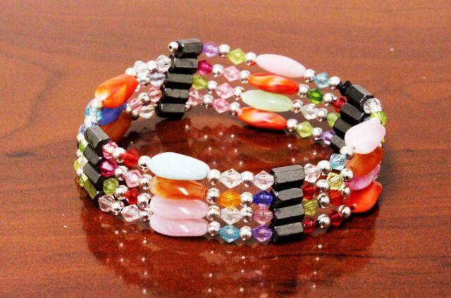 Lot of 2 Magnetic Hematite Gemstone Beads Bracelet Bangle Long Style Necklace