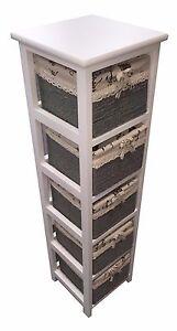 Slim-White-Wood-5-Drawer-Maize-Basket-Storage-Cabinet-Organiser-For-Bathroom
