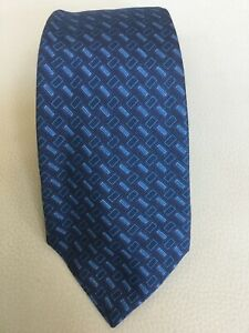 Recent-Kiton-Napoli-Blue-Geometric-Patterned-Silk-Tie-Made-in-Italy