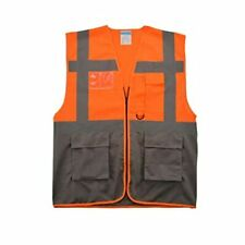 Shorfune High Visibility Safety Vest With Pockets Zipper And Reflective Strips
