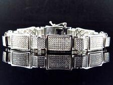 """Mens White Gold Over Sterling Silver Simulated Diamond Designer Bracelet 8.5"""""""