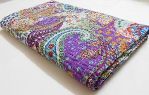 queen size mud block print kantha quilt handmade kantha bedspread 491