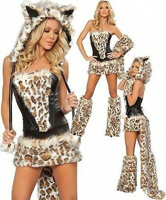 SEXY ANIMAL LEOPARD COSTUME FANCY DRESS CAT FRISKY 8 10 12 14