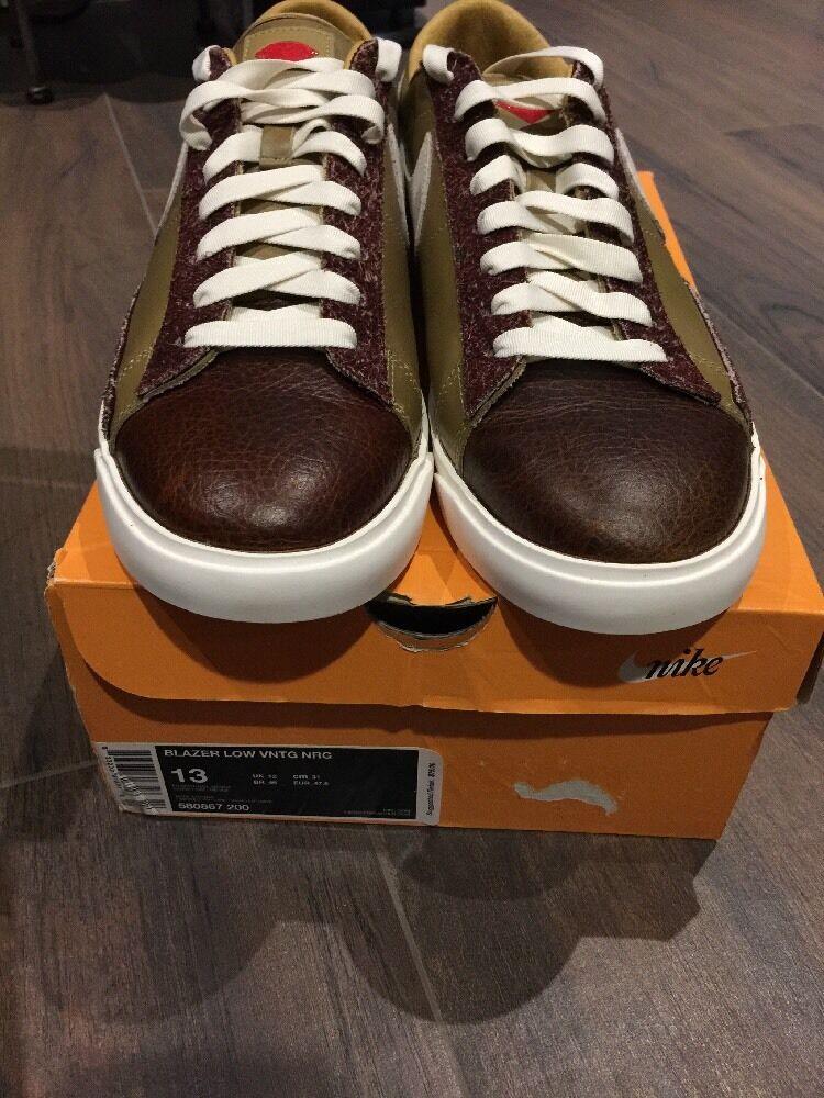 Mens Nike Blazer Low Vntg Nrg Sneakers 13 NIB Chocolate Skateboards Collab.