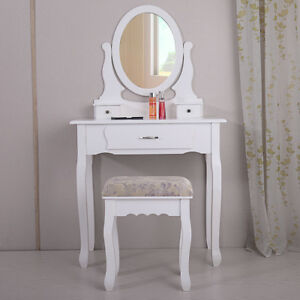 Gentil Image Is Loading White Vanity Table Jewelry Makeup Desk Bench Dresser