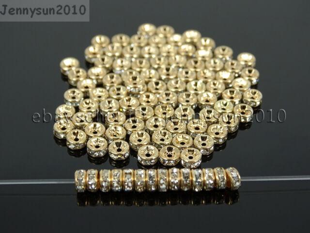 Czech Crystal Rhinestone Light Rose Gold Rondelle Spacer Beads 4mm 6mm 8mm 10mm