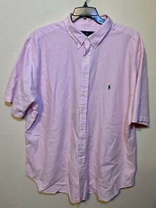 Polo-Ralph-Lauren-Pink-White-Seersucker-Men-s-Short-Sleeve-Shirt-3xlt-Big-amp-Tall
