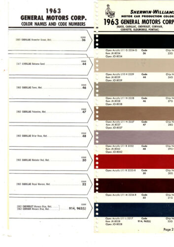 1963 CADILLAC FLEETWOOD DEVILLE ELDORADO BIARRITZ PAINT CHIPS SHERWIN WIILLIAMS3