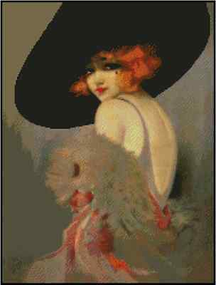 Vintage Lady with Large Black Hat Counted Cross Stitch Chart  No.24-120