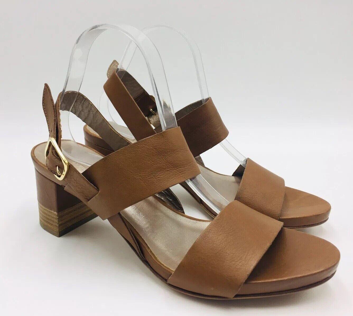 ATTILIO GIUSTI LEOMBRUNI Stacked Block Heel Sandal Size 42 Brown, MSRP  425