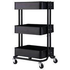 3 Tier Home Kitchen Storage Utility 17 Sturdy Cart Black