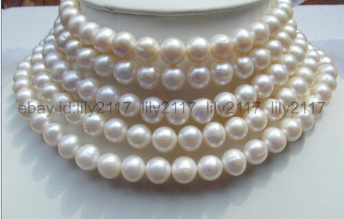 85 in environ 215.90 cm AAA 9-10 mm round South Sea Véritable Perle Blanche Collier Or 14K