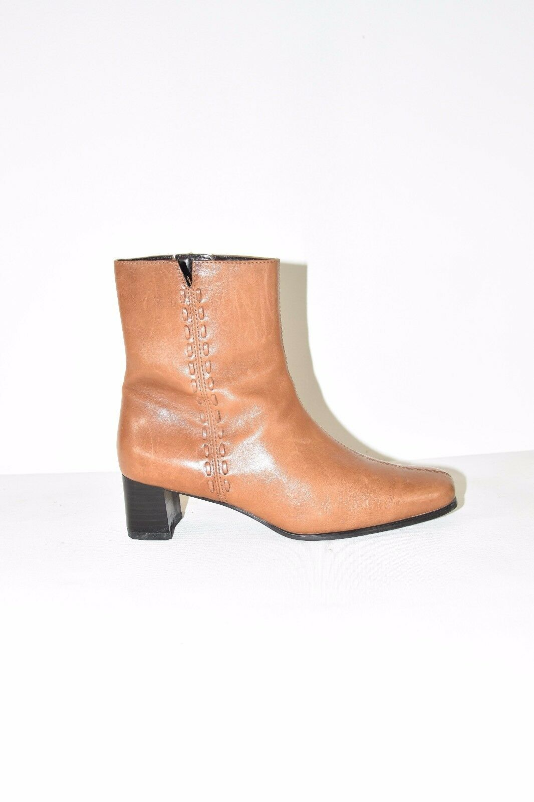 Brown Leather JANA Ankle Boot Zip Mid Heel Riding Women's Boots Size 4/37
