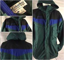 Columbia Jacket Medium Green Blue Nylon Hood Full Zip Mint YGI 40rr