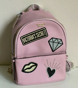 NEW-VICTORIA-039-S-SECRET-LIGHT-PINK-VS-PATCH-SMALL-CITY-TRAVEL-BACKPACK-BAG-SALE