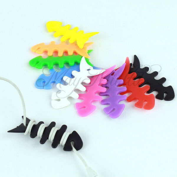 3× Fishbone Earbud earphone Cord silica gel Cable Winder Organizer Colorful LW