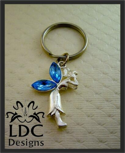 Silver Blue Crystal Fairy Keyring Purse Charm Key Chain FOB
