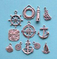 Nautical Charm Collection 12 Tibetan Silver Tone Charms Free Shipping E39