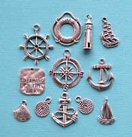 Nautical Charm Collection 12 Tibetan Silver Tone Charms Free Shipping E39