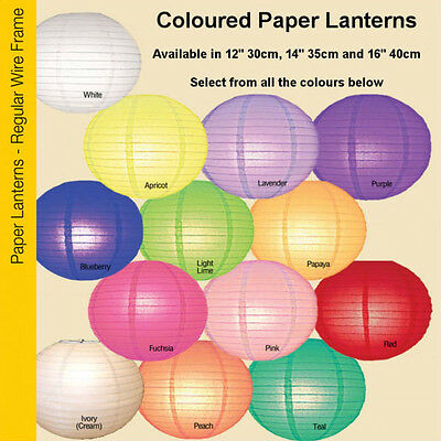 "1x Coloured Paper Lantern Shade 12"" 14"" 16"" Apricot Purple Pink Blue Red Green"