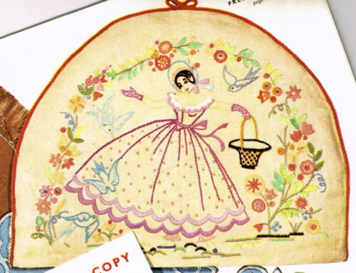 Vintage embroidery pattern-1940s Crinoline Victorian lady /& flowers design
