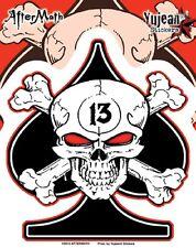Yujean Sticker Aufkleber Aftermath Spade Skull Helm Tank Bike Auto MC Chopper