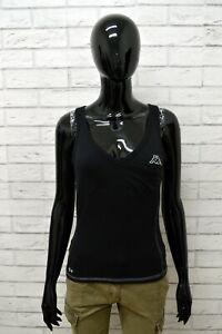 Maglia-KAPPA-Donna-Taglia-Size-L-Maglietta-Canotta-Shirt-Woman-Cotone-Nero-Slim
