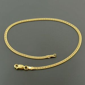 """Fine Jewelry Fine Anklets 10k Yellow Gold 2.4mm Solid Pave Curb Link 10"""" Anklet W/ Lobster Lock Luxuriant In Design"""