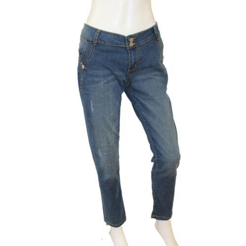 Ladies Loose Fit Mid Rise Ankle Grazer Soft Faded Mid Indigo Blue Denim Jean