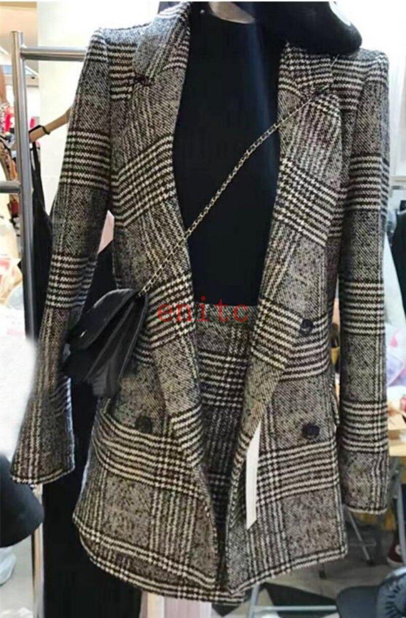 Fashion Ladies Korean Grid Lapel Slim Blazer Suit A-line Dress Coat+Skirt 2PCS