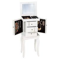 Floor Standing Jewelry Cabinet Storage Box Organiser With Mirror White
