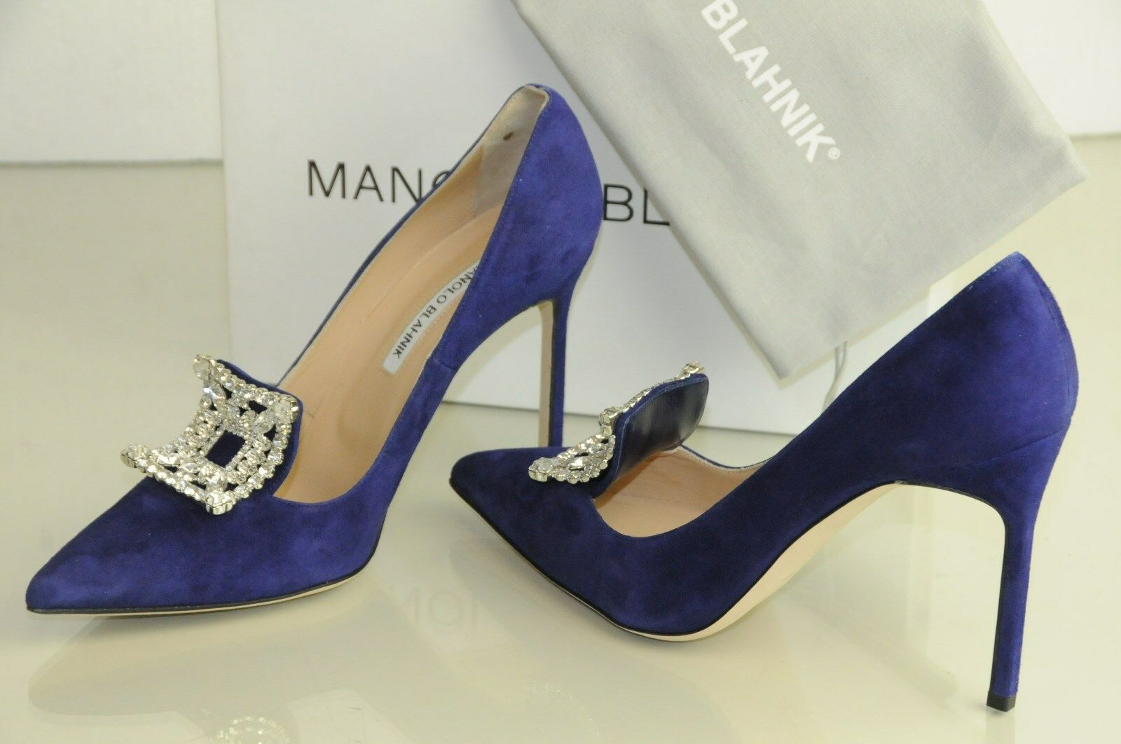 1135 New Manolo Blahnik BORLAK Purple Suede Jeweled Shoes Pumps 39.5 40.5