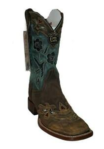 Dan-Post-CC-BlueBird-DP2914-Womens-Copper-Turquoise-Leather-Western-Boots